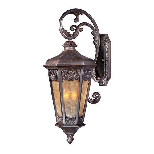 Maxim Lighting Outdoor Wall Light with Beige / Cream Glass in Colonial Umber Finish 40174NSCU