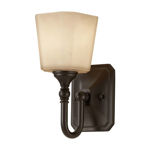 Feiss Lighting Sconce with Beige / Cream Glass in Oil Rubbed Bronze Finish VS19701-ORB