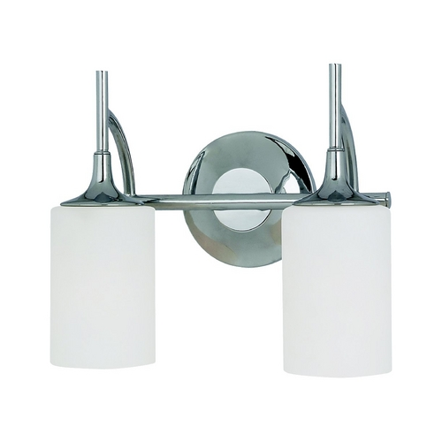 Sea Gull Lighting Modern Bathroom Light with White Glass in Chrome Finish 44953-05