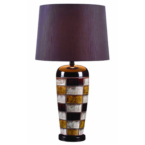 Kenroy Home Lighting Kenroy Home Lighting Torino Multicolored Squares Table Lamp with Drum Shade 32273CER