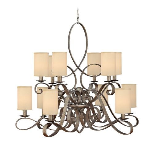 Frederick Ramond Chandelier with Gold Shades in Brushed Merlot Finish FR42508BME
