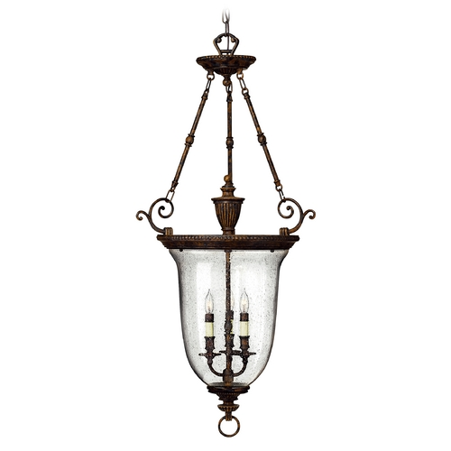 Hinkley Lighting Hanging Pendant Lantern Light with Hand Blown Seeded Glass 3714FB