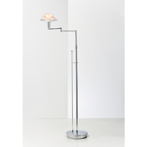 Holtkoetter Lighting Holtkoetter Modern Swing Arm Lamp with Alabaster Glass in Chrome Finish 9434 CH ABR