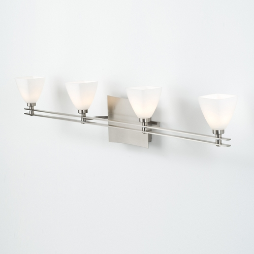Holtkoetter Lighting Holtkoetter Modern Bathroom Light with White Glass in Satin Nickel Finish 5584 SN G5015