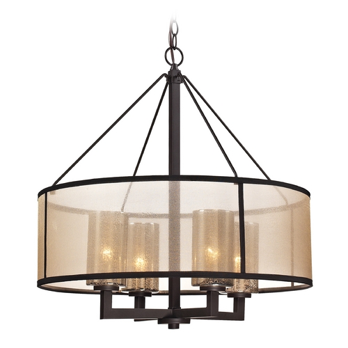 Elk Lighting Drum Pendant Light with Beige / Cream Shades in Oil Rubbed Bronze Finish 57027/4