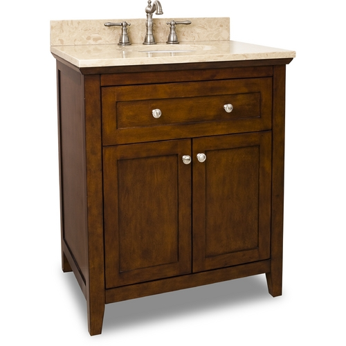 Hardware Resources Bathroom Vanity in Chocolate Finish - Pre Assembled Top and Bowl VAN090-30-T