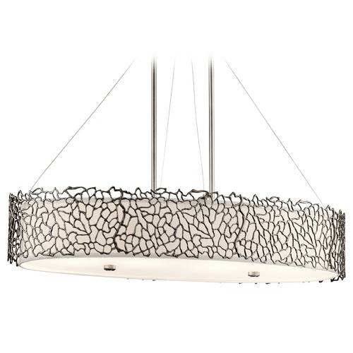 Kichler Lighting Kichler Lighting Silver Coral Classic Pewter Pendant Light with Oval Shade 43348CLP