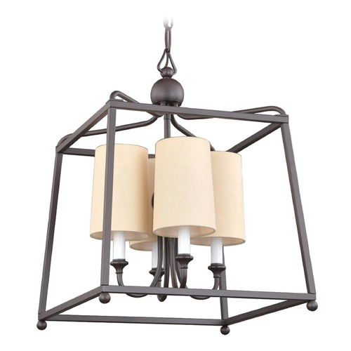 Crystorama Lighting Crystorama Lighting Sylvan Dark Bronze Pendant Light with Cylindrical Shade 2245-DB