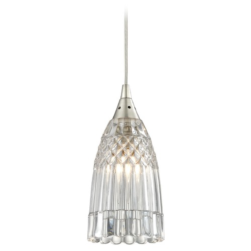 Elk Lighting Elk Lighting Kersey Satin Nickel Mini-Pendant Light with Bowl / Dome Shade 10458/1