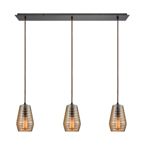 Elk Lighting Elk Lighting Ribbed Glass Oil Rubbed Bronze Multi-Light Pendant with Fluted Shade 10533/3LP