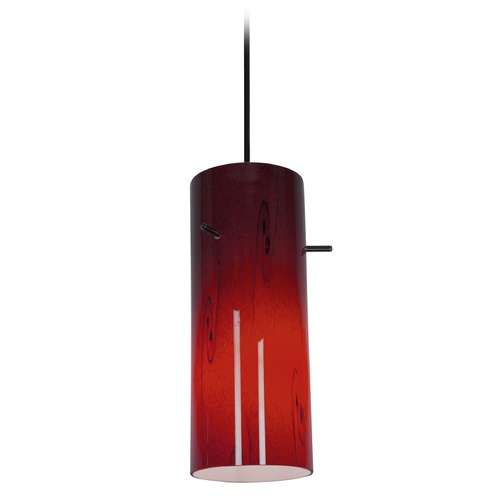 Access Lighting Access Lighting Cylinder Oil Rubbed Bronze LED Mini-Pendant Light with Cylindrical Shade 28030-4C-ORB/RED