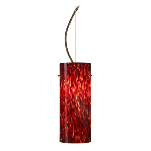 Besa Lighting Besa Lighting Stilo Bronze LED Pendant Light with Cylindrical Shade 1KX-412341-LED-BR
