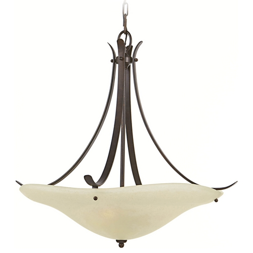 Home Solutions by Feiss Lighting Pendant Light with Beige / Cream Glass in Grecian Bronze Finish F2046/3GBZ