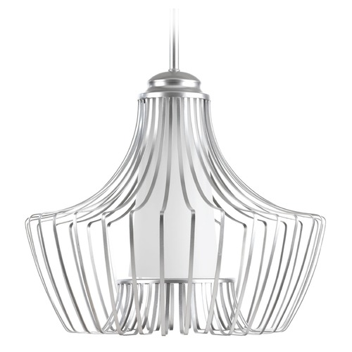 Progress Lighting Progress Lighting Finn Metallic Silver Pendant Light with Cylindrical Shade P5325-121