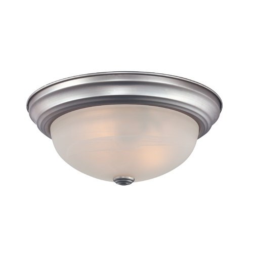 Quoizel Lighting Flushmount Light with White Glass in Brushed Nickel Finish MNR1613BN