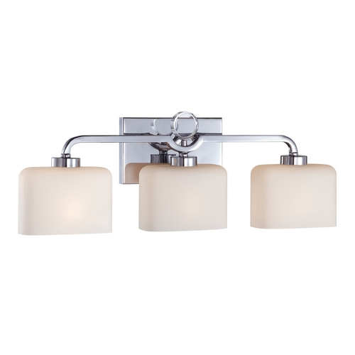 Designers Fountain Lighting Modern Bathroom Light with White Glass in Chrome Finish 6623-CH