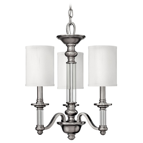 Hinkley Lighting Mini-Chandelier with Beige / Cream Shades in Brushed Nickel Finish 4793BN