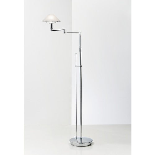 Holtkoetter Lighting Holtkoetter Modern Swing Arm Lamp with Alabaster Glass in Chrome Finish 9434 CH AWH