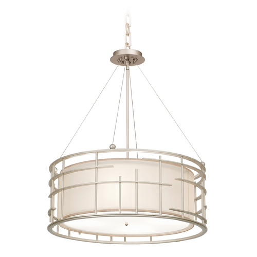 Kalco Lighting Kalco Lighting Atelier Tarnished Silver Pendant Light with Drum Shade 6483TS