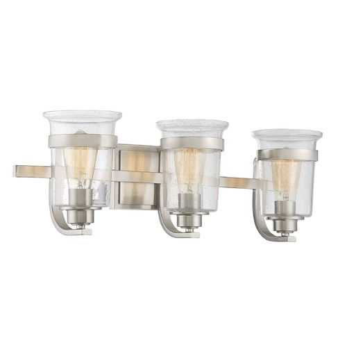 Savoy House Seeded Glass Bathroom Light Satin Nickel Savoy House 8-3030-3-SN