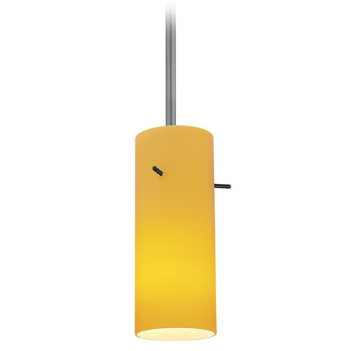 Access Lighting Access Lighting Cylinder Brushed Steel LED Mini-Pendant Light with Cylindrical Shade 28030-4R-BS/AMB