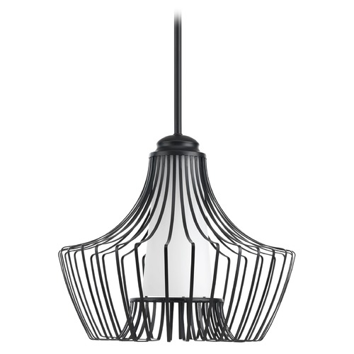 Progress Lighting Progress Lighting Finn Black Pendant Light with Cylindrical Shade P5325-31