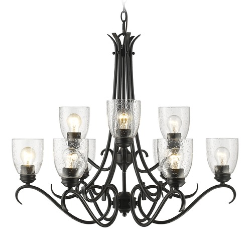 Golden Lighting Seeded Glass Chandelier Black Golden Lighting 8001-9 BLK-SD