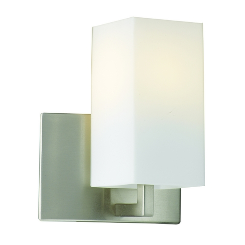 Philips Lighting Modern Sconce Wall Light with White Glass in Satin Nickel Finish F451536