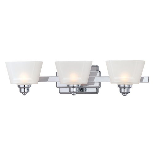 Designers Fountain Lighting Modern Bathroom Light with White Glass in Chrome Finish 6673-CH