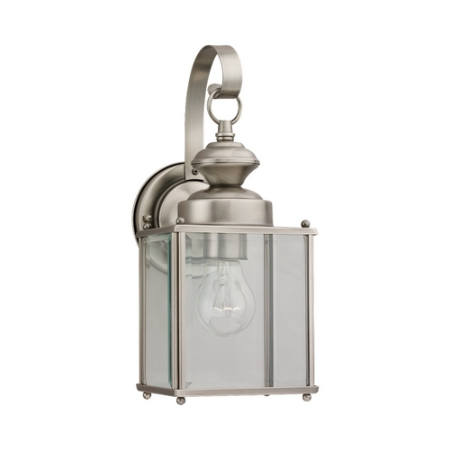 Sea Gull Lighting Outdoor Wall Light with Clear Glass in Antique Brushed Nickel Finish 8457-965