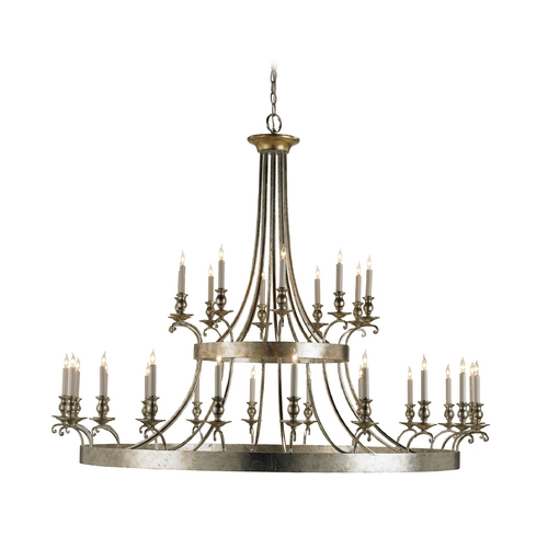 Currey and Company Lighting Modern Chandelier in Granello Silver Leaf Finish 9582