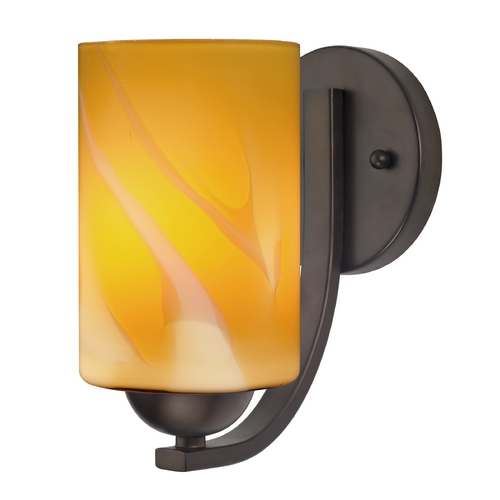 Design Classics Lighting Sconce with Butterscotch Art Glass in Bronze Finish 585-220 GL1022C