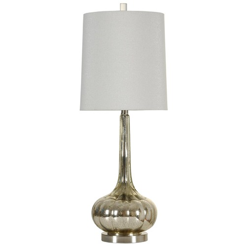 StyleCraft Stylecraft Mercury Silver & Brushed Steel Table Lamp with Cylindrical Shade L33995