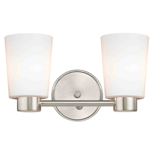 Design Classics Lighting Aon Fuse Contemporary Satin Nickel Bathroom Light with Cylinder Glass 1802-09 GL1027