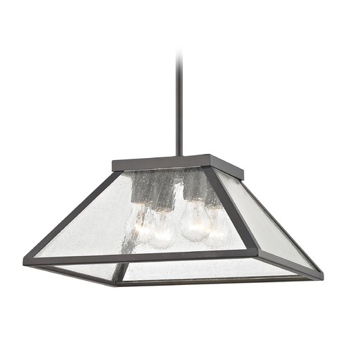 Design Classics Lighting Industrial Pendant Light in Bronze with Tapered Square Glass 1816-220