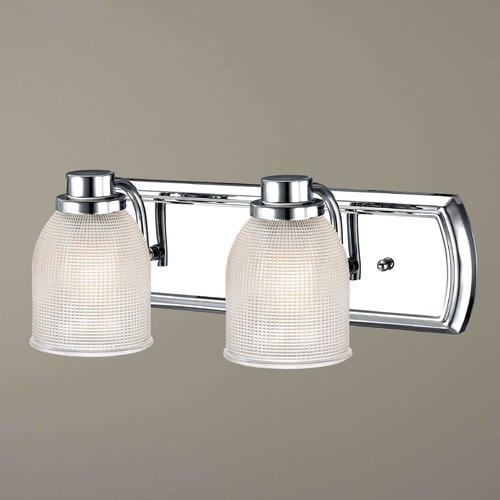 Design Classics Lighting 2-Light Bathroom Light with Clear Prismatic Glass in Chrome Finish 1202-26 GL1058-FC