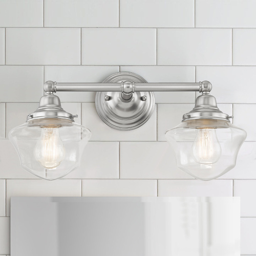 Design Classics Lighting Clear Glass Schoolhouse Bathroom Light Satin Nickel 2 Light 17 Inch Length WC2-09 GC6-CL