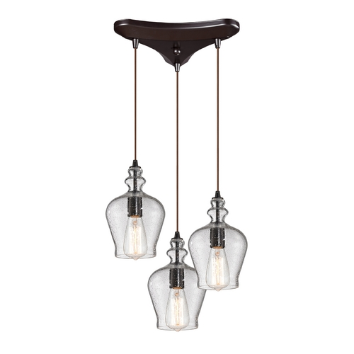 Elk Lighting Multi-Light Pendant Light with Clear Glass and 3-Lights 60066-3