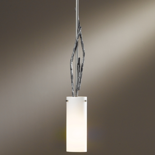 Hubbardton Forge Lighting Hubbardton Forge Lighting Brindille Burnished Steel Mini-Pendant Light with Cylindrical Shade 18667-202-08-G336