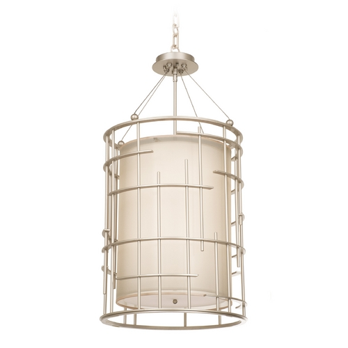 Kalco Lighting Kalco Lighting Atelier Tarnished Silver Pendant Light with Cylindrical Shade 6484TS