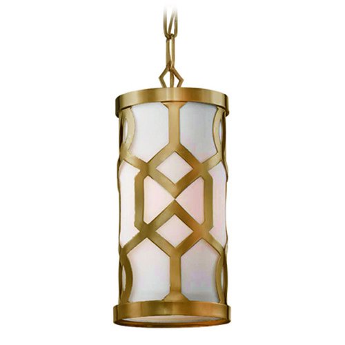 Crystorama Lighting Crystorama Lighting Jennings Aged Brass Mini-Pendant Light with Cylindrical Shade 2260-AG