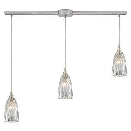 Elk Lighting Elk Lighting Kersey Satin Nickel Multi-Light Pendant with Bowl / Dome Shade 10458/3L