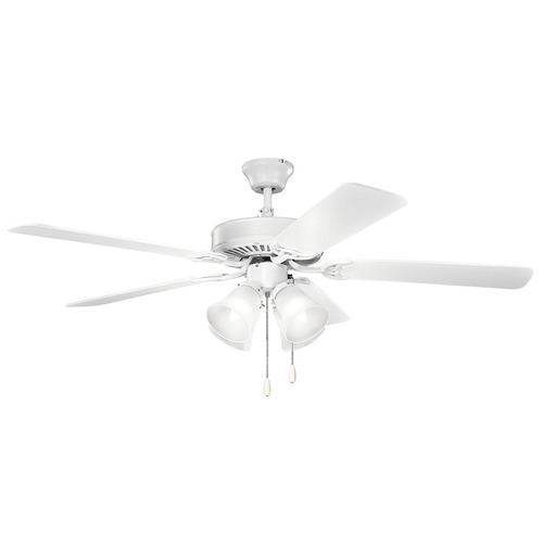 Kichler Lighting Kichler Lighting Basics Matte White Ceiling Fan with Light 402MWH