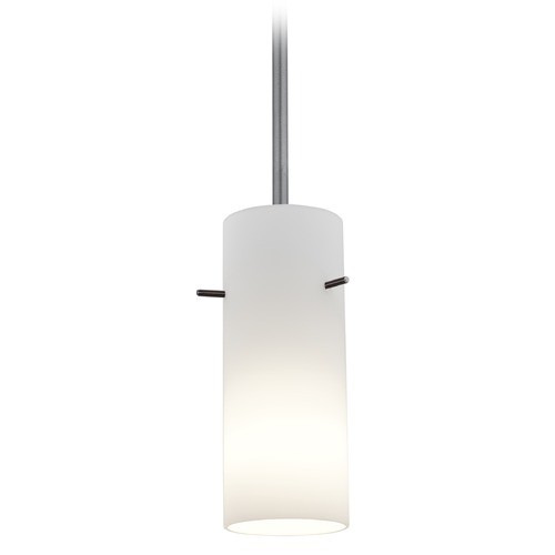 Access Lighting Access Lighting Cylinder Brushed Steel LED Mini-Pendant Light with Cylindrical Shade 28030-4R-BS/OPL