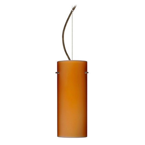 Besa Lighting Besa Lighting Stilo Bronze LED Pendant Light with Cylindrical Shade 1KX-412380-LED-BR
