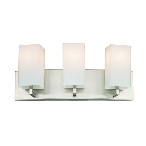 Philips Lighting Modern Bathroom Light with White Glass in Satin Nickel Finish F451636
