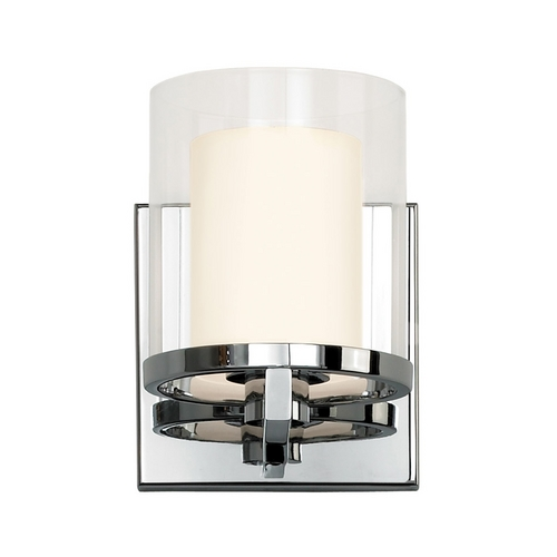Sonneman Lighting Modern Sconce Wall Light with Clear Glass in Polished Chrome Finish 3410.01
