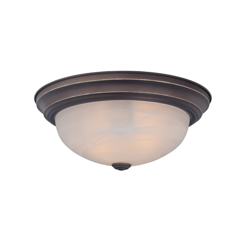 Quoizel Lighting Flushmount Light with White Glass in Palladian Bronze Finish MNR1613PN