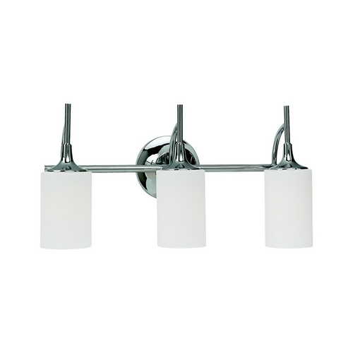 Sea Gull Lighting Modern Bathroom Light with White Glass in Chrome Finish 44954-05