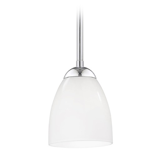 Design Classics Lighting Chrome Mini-Pendant Light with Opal White Bell Glass Shade 581-26 GL1024MB